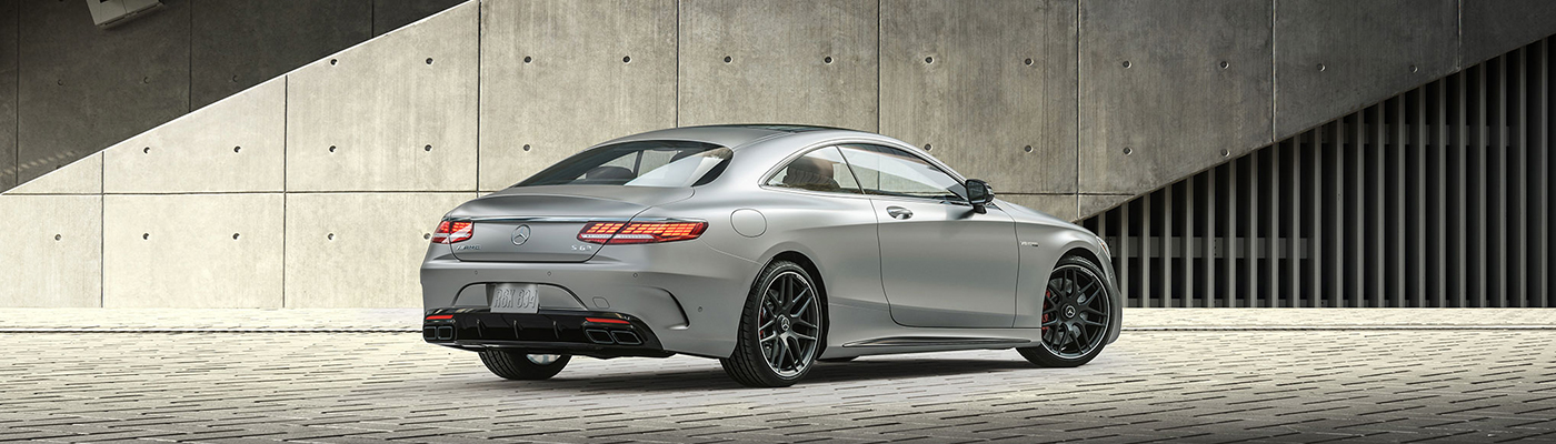 Rear view of a silver s-class coupe