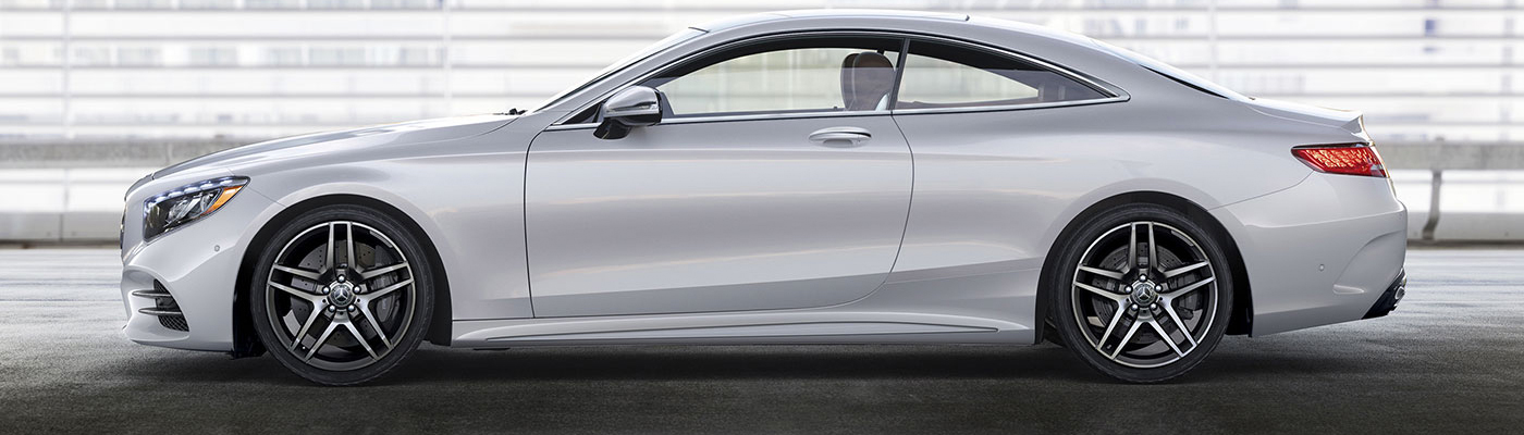 Side view of a white S-class coupe