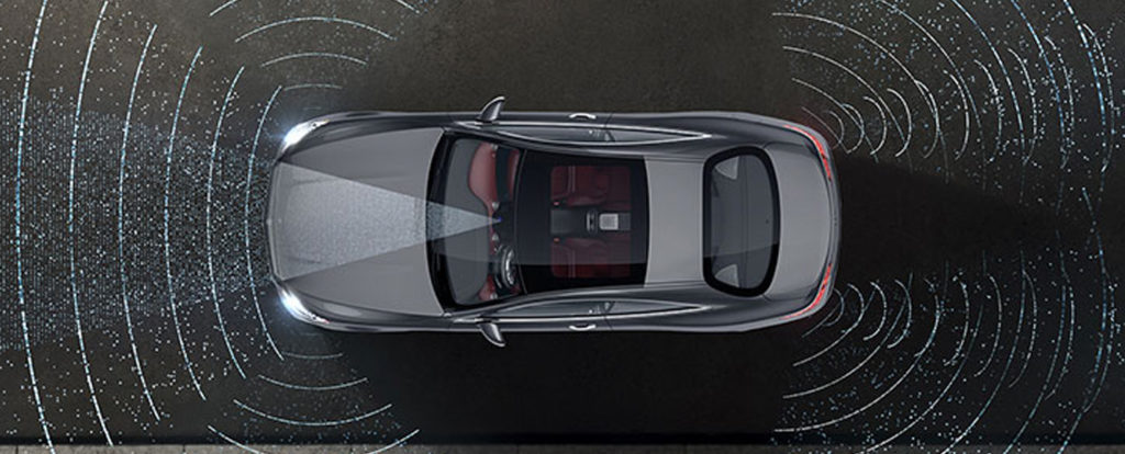 Top view of a grey S-class Coupe showing the range of the radar