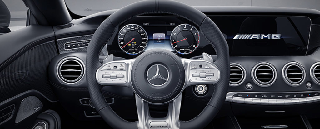 Zoomed in view of the S-class steering wheel and dash