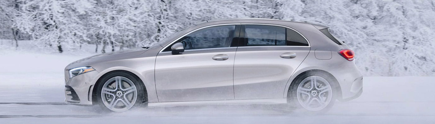 2019 Side view of a silver A-class Hatchback