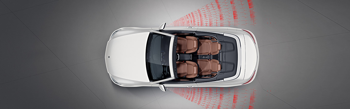 Top view of the C-class cabriolet showcasing the new driver assists system