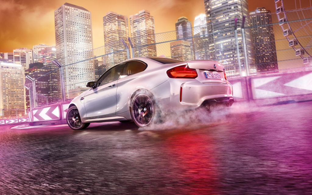 BMW M2 Competition burning rubber on the racetrack