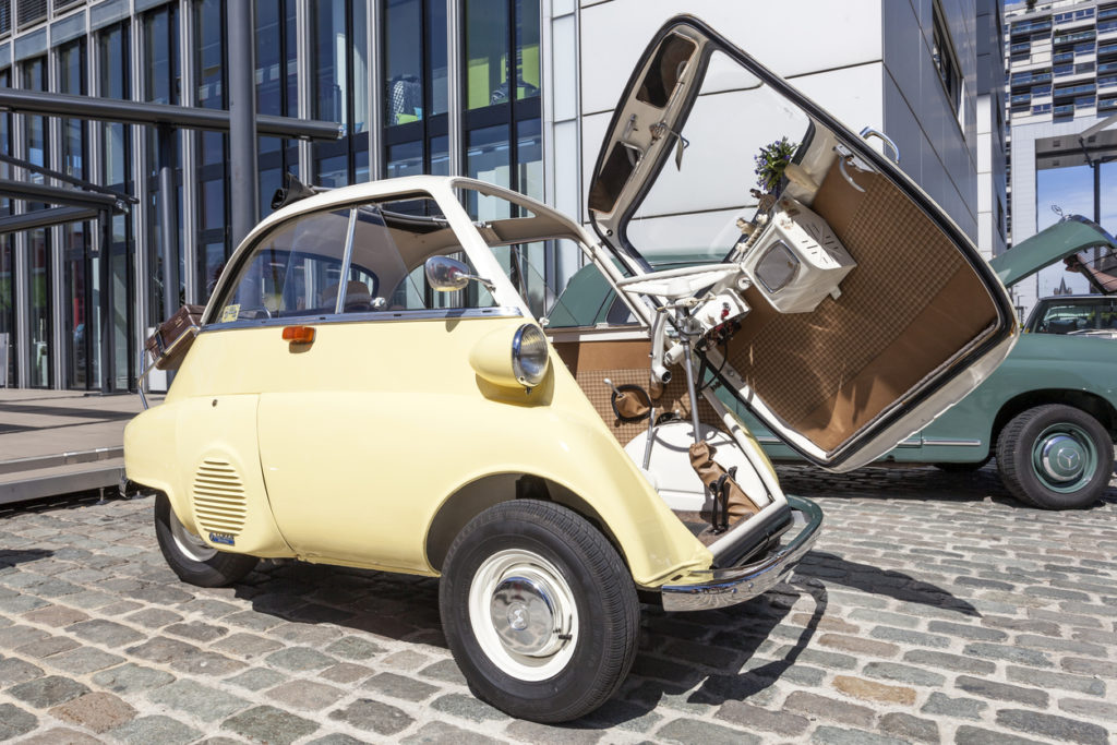 Cologne, Germany - August 7, 2016: Historic BMW 300 Isetta bubble car from ca. 1960 at an exhibition in the city of Cologne, Germany