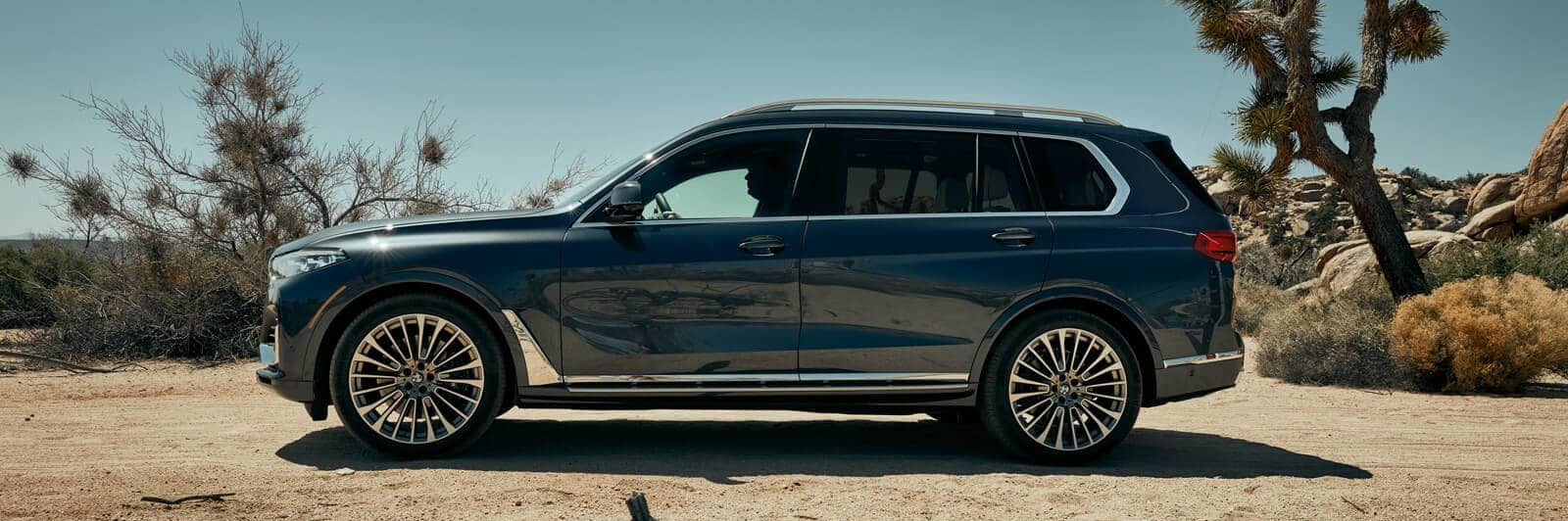 Profile shot of the BMW X7 in a desert climate