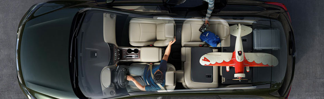 Nissan Pathfinder® Platinum shown in Perforated Almond Leather with optional equipment highlighting versatile interior.