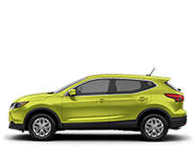 Nissan Qashqai S in lime green