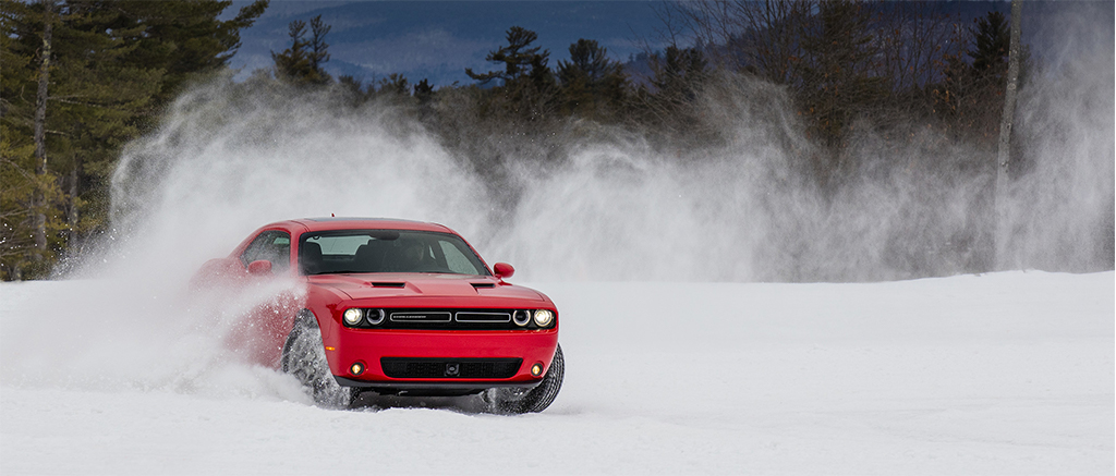 Dodge Challenger driving in snow
