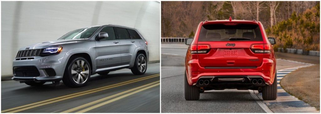 Left, 2018 Jeep Grand Cherokee in grey driving in a tunnel; Right, 2018 Jeep Grand Cherokee in red driving on a closed race track