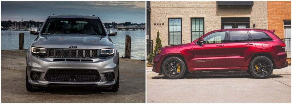 Left, 2018 Jeep Grand Cherokee in grey front profile; Right, 2018 Jeep Grand Cherokee in red side profile