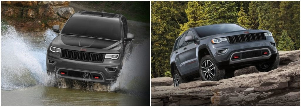 Left, 2018 Jeep Grand Cherokee in grey and black trudging through lots of water and it looks really cool doing it; Right, 2018 Jeep Grand Cherokee in grey parked on top of rocks and boulders