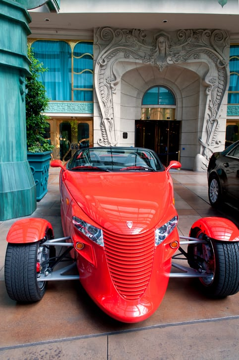 Chrysler Prowler Hot Rod parked in front of the Paris hotel in Las Vegas.""