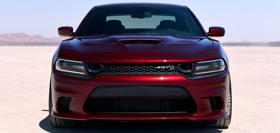 2019 Dodge Charger front view of hood, shown in red