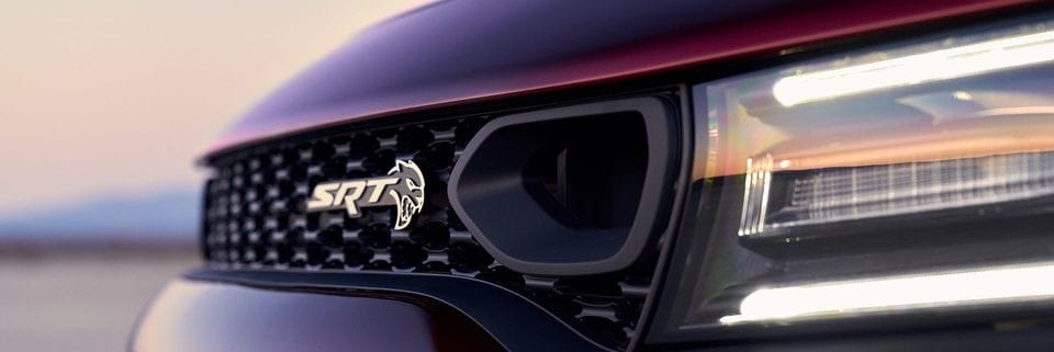 2019 Dodge Charger close up view of high performance grille with dual air inlets