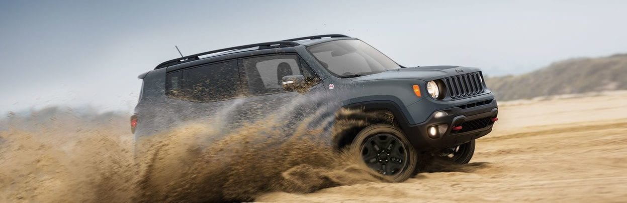 2018 Jeep Renegade front view, shown in grey