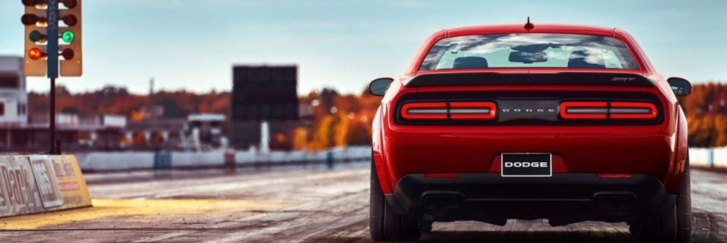 2018 Dodge Demon Rear View on the drag strip, waiting for the light to turn green