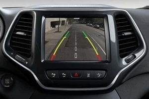 The back-up camera display on the front console of a Jeep Cherokee