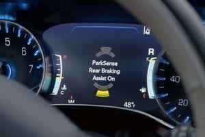 The advanced information display on the front dash of a Chrysler Pacifica hybrid