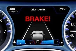 The display for the forward collision alert in a Chrysler 300