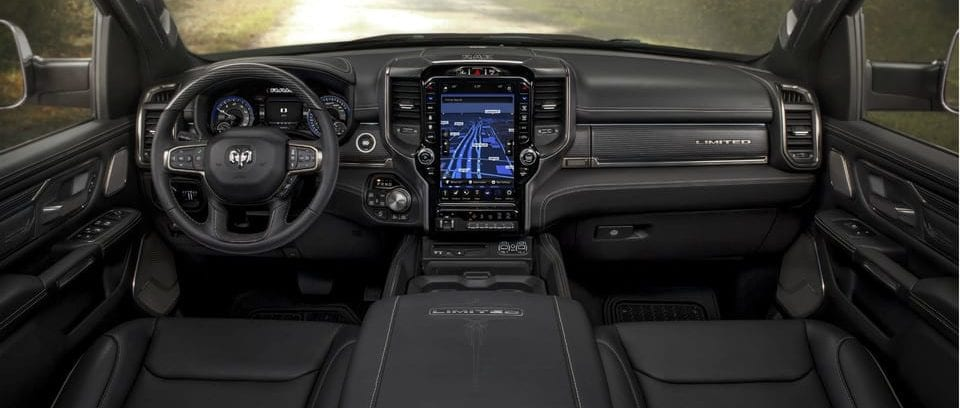 2019 Ram 1500 interior leather and real wood