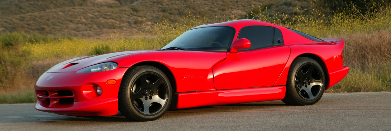 Dodge Viper with hills behind