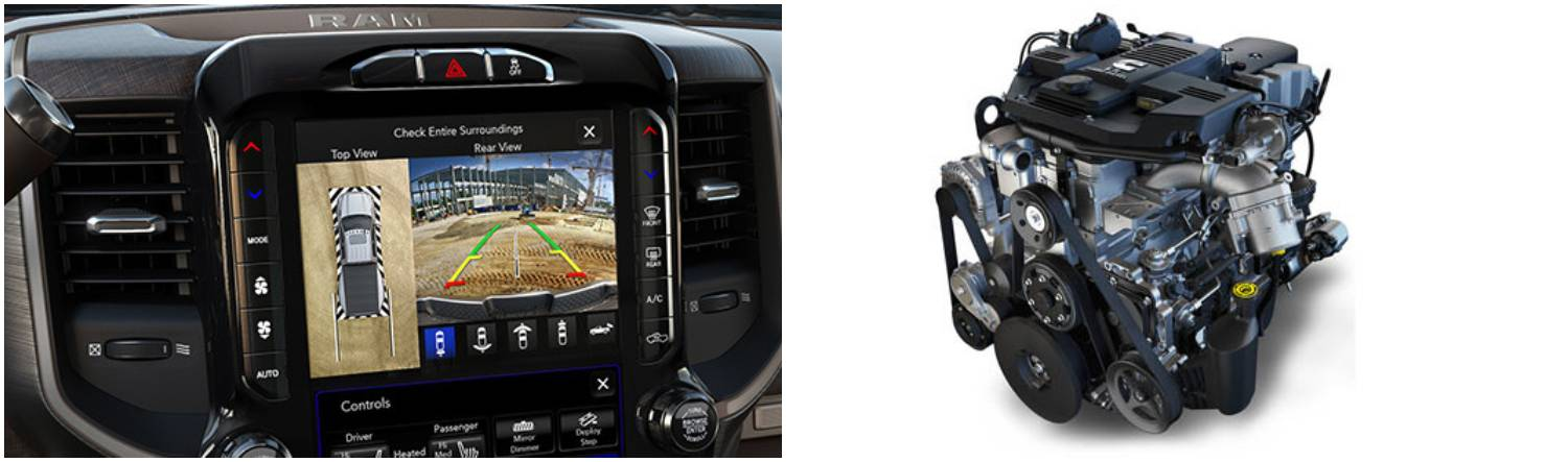 Left panel: UConnect touchscreen display of the Ram 3500; Right Panel: Ram 3500 engine
