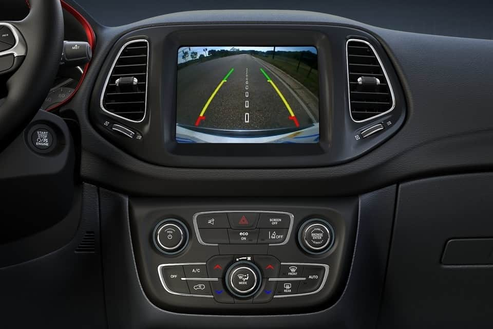 View of the rear view camera display on the 2019 Jeep Compass