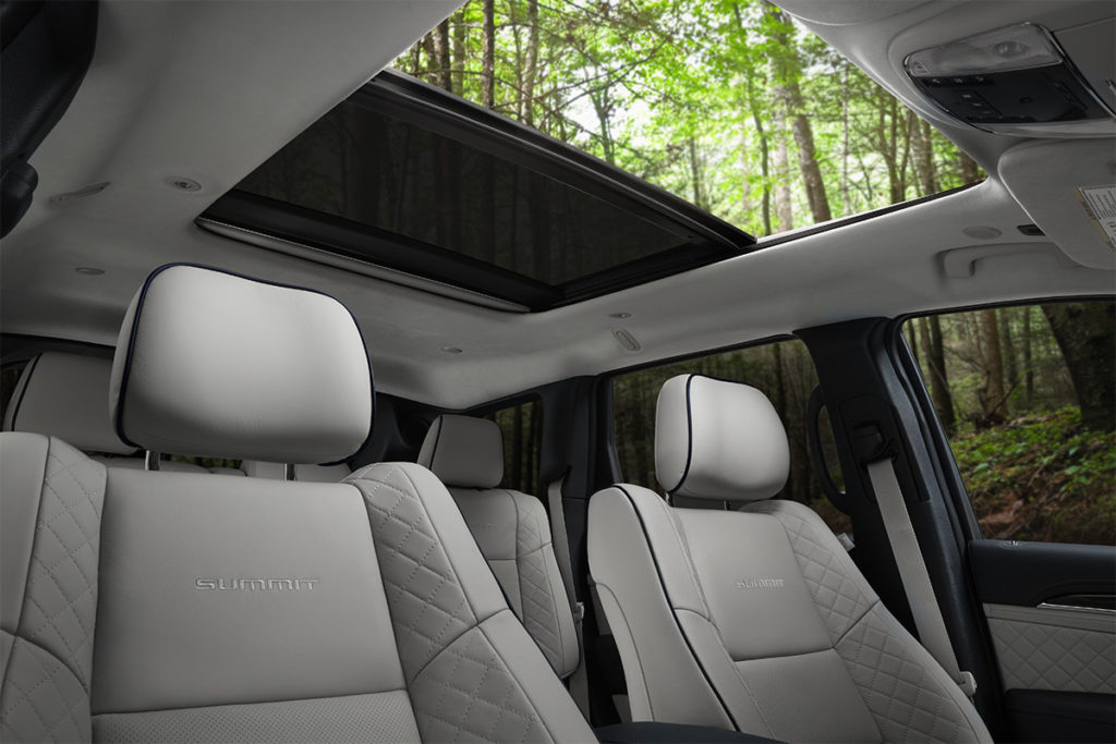 2019 Jeep Grand Cherokee Summit edition interior with dual-pane panoramic sunroof
