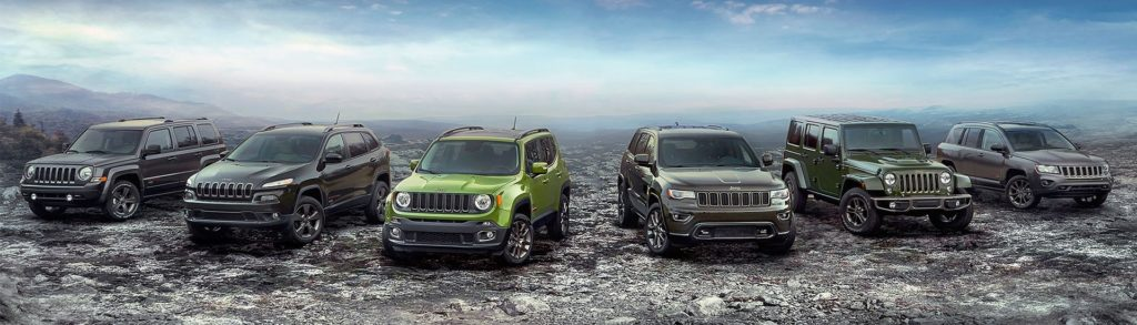 lineup of jeep vehicles