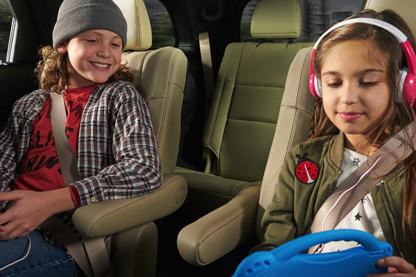 interior shot of 2019 durango with two children in captains seats