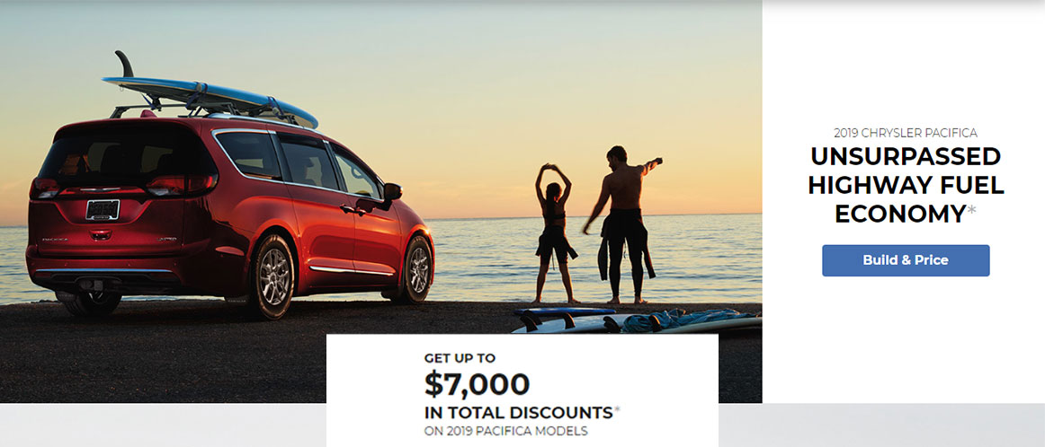 Great West Chrysler July 2019 Offer Red Pacifica at the beach