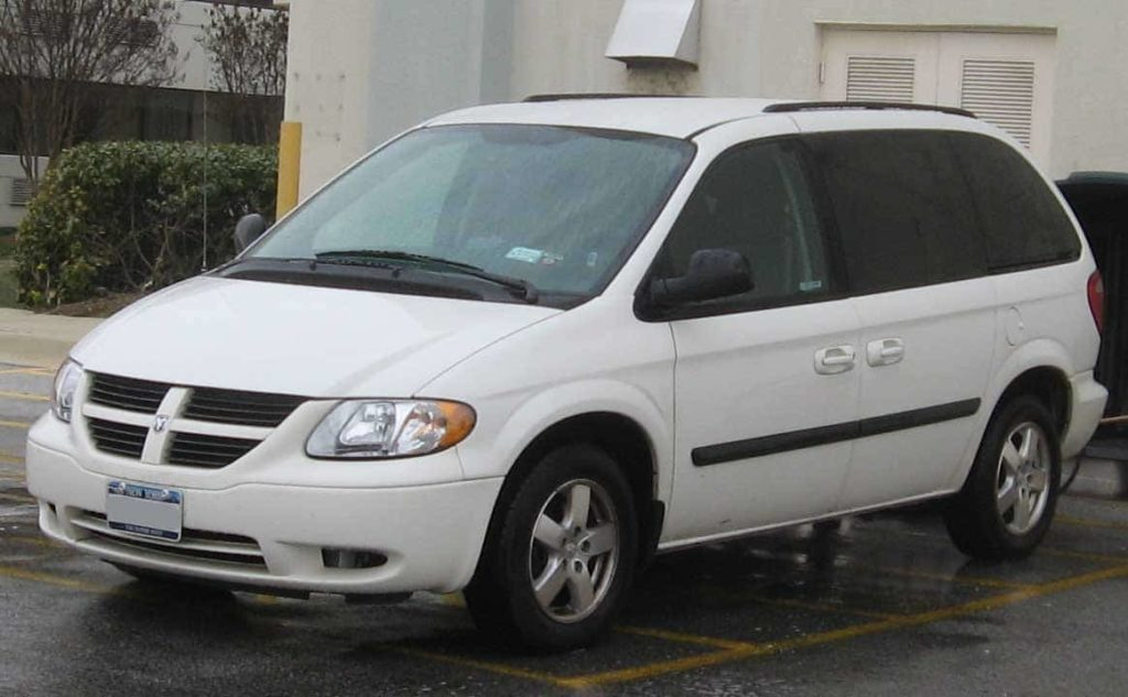 2007 Dodge Caravan in white photographed in College Park, Maryland, USA.