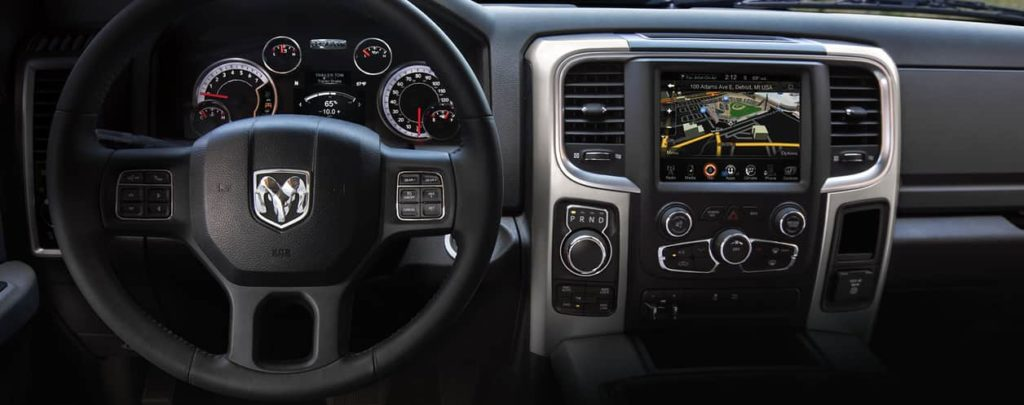 Black-out, leather Interior dashboard of the 2019 Ram 1500 Classic