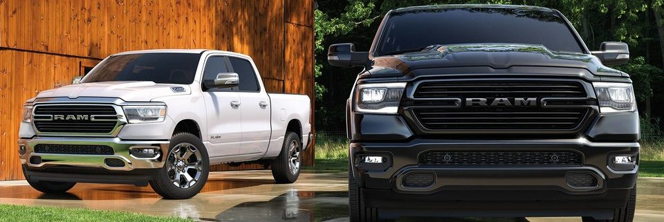 2019 Ram 1500 parked side-by-side