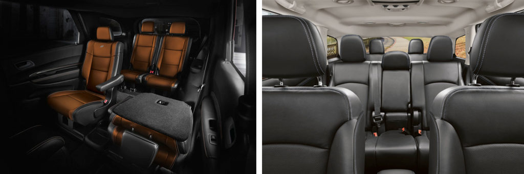 side by side comparison of the dodge durango and journey interiors