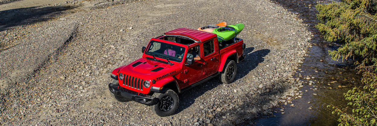 2020 Jeep Gladiator on a gravel shore