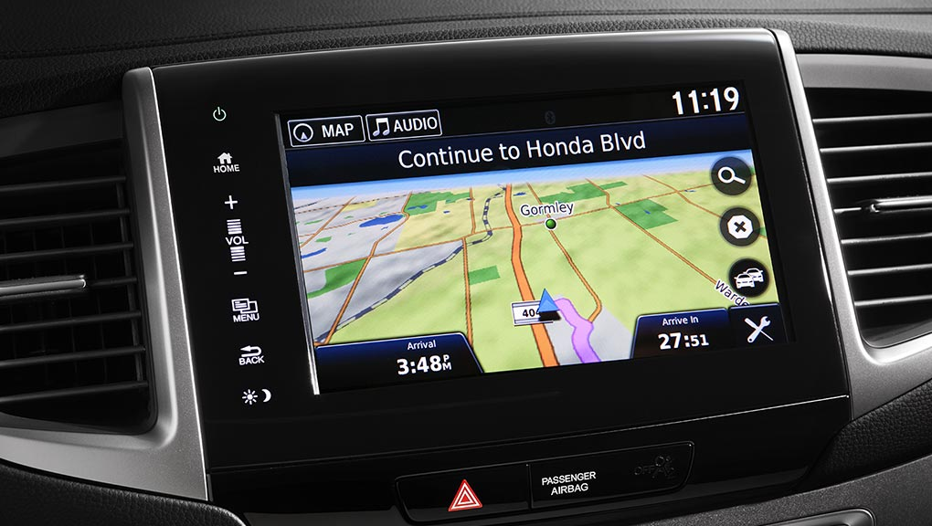 The navigation system in the 2019 Honda Pilot.