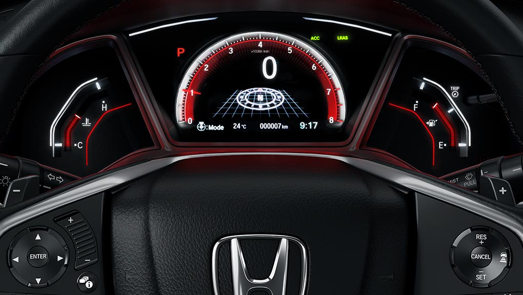 2019 Honda Civic Hatchback leather wrapped steering wheel