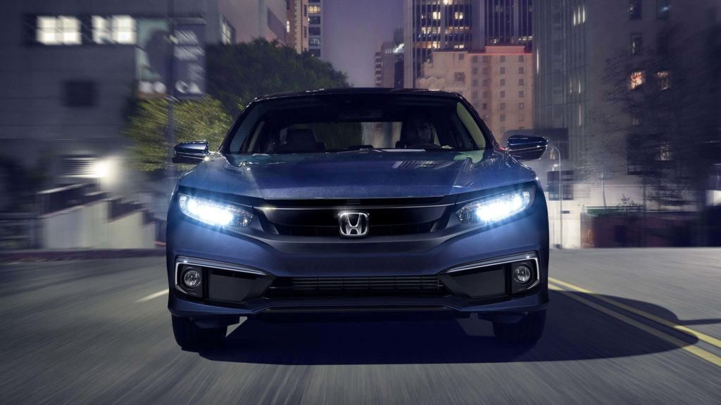 A front view of a blue 2019 Honda Civic