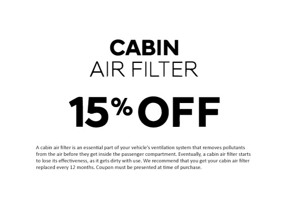 Cabin air filter 15% off
