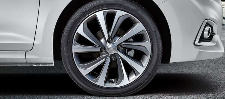 A closeup of a tire on a 2019 Hyundai Accent