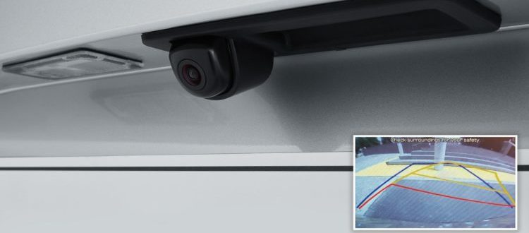 The rear-mounted back-up camera, and the display grid lines, which come with the 2019 Hyundai Accent