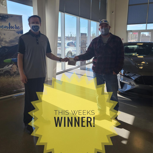 Photo of the winner from Ford Event