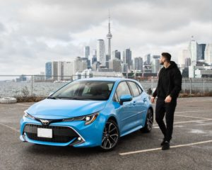 Toyota 2020 Corolla Hatchback Xse Front Left 2 3 Blue Flame L