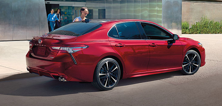2019 Toyota Camry XSE V6 Ruby Flare Pearl back 3/4 view
