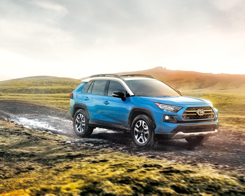 2019 Blue Toyota RAV4 with white roof
