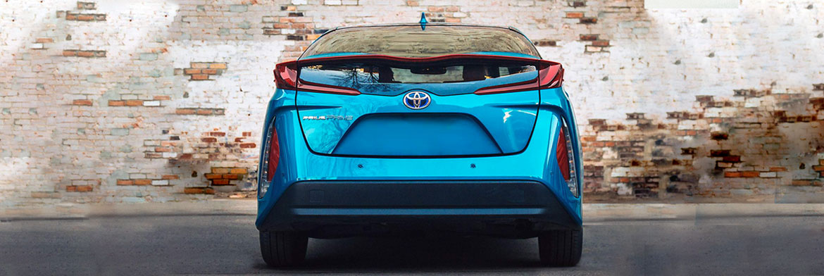 Rear of a 2020 Prius Prime in blue