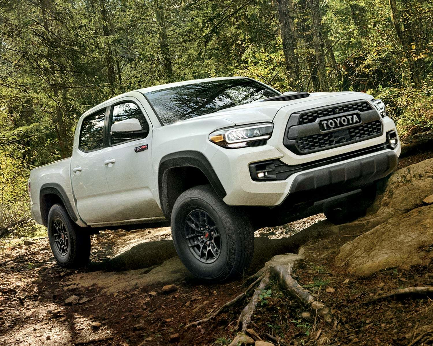 Toyota 2021 White Tacoma parked uphill on a terrain