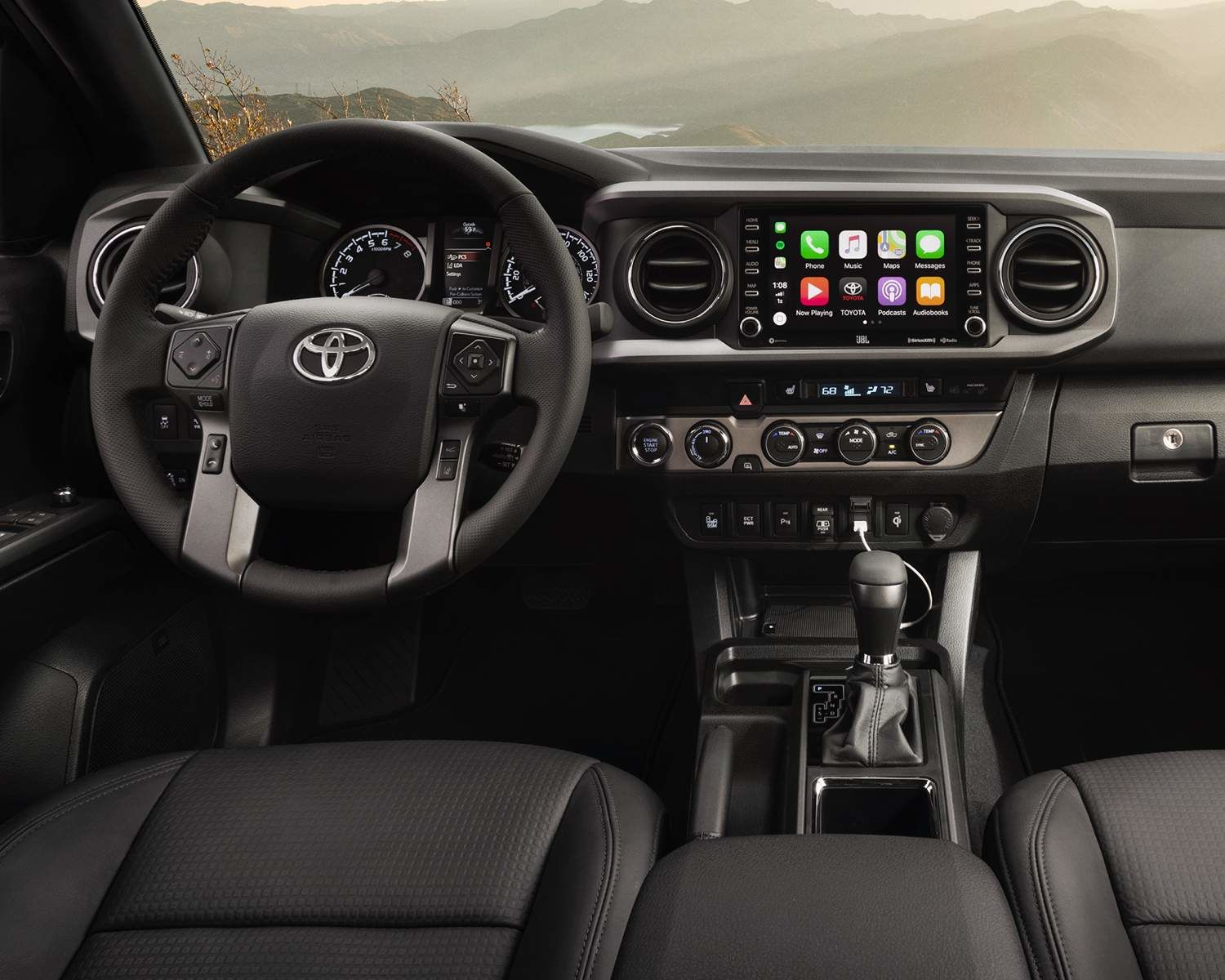 2021 Toyota Tacoma's interior dashboard, with touch screen technology
