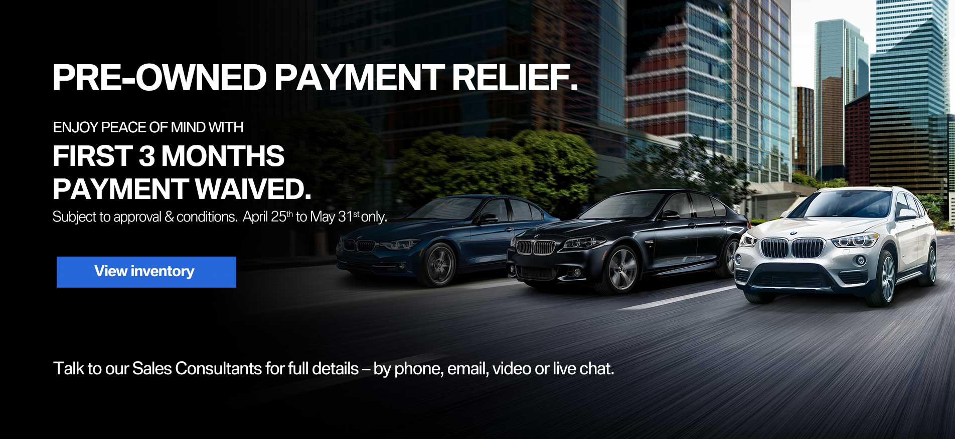 Auto West BMW Pre-Owned Payment Relief Offer